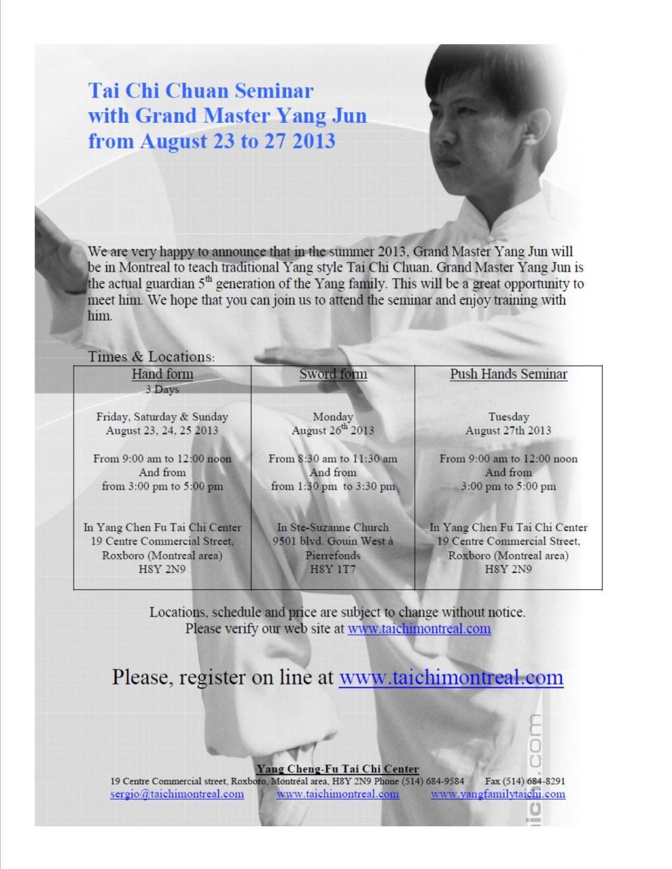 Seminar Information August 2013